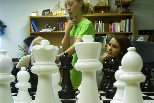 Yeah, I know, girls playing chess is pretty far fetched, but they take nicer pictures.