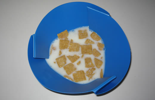 Folded, with a little life-giving Life cereal.  (I'd already eaten First Breakfast.)