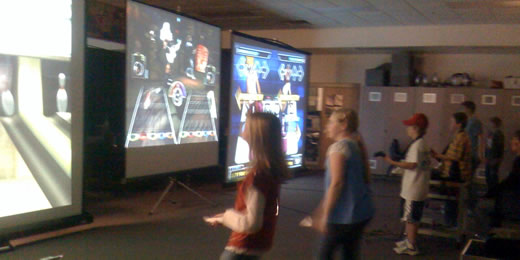 wii sports, guitar hero III and DDR