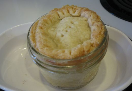 Tiny Pie!  (one hour at 375 or so, put a ring of foil around edge for first part.)
