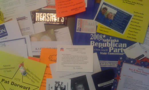 30 letters and a candybar asking for my vote (that's, like $13.00 in postage)