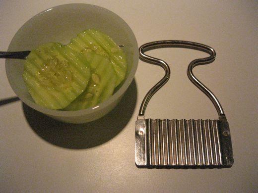 Crinkle cut cucumbers!  A triple-c threat.