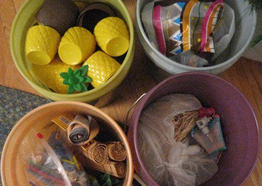 Cups, banners, leis, straws, tiki dudes.