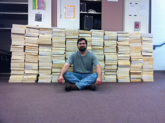 He estimates 200-250 boxes of music.